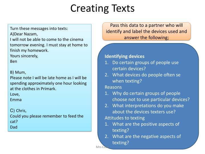 Creating Texts