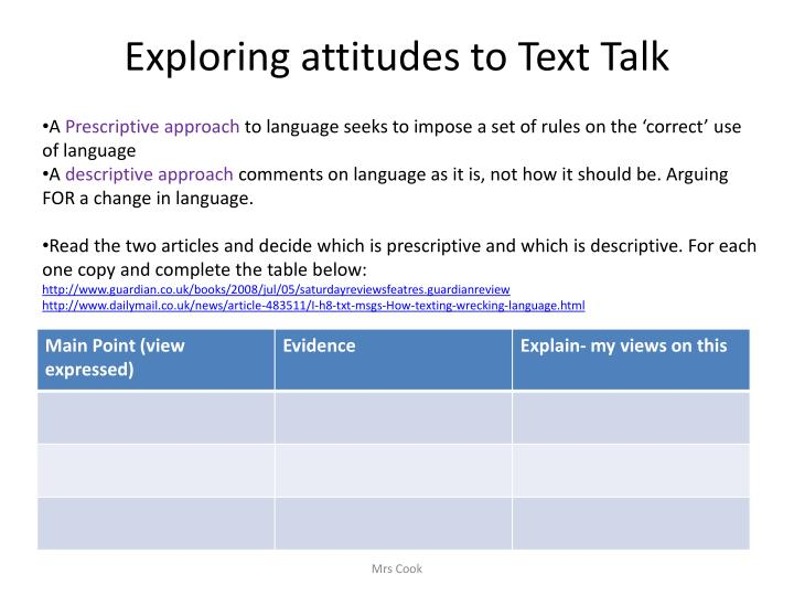 Exploring attitudes to Text Talk