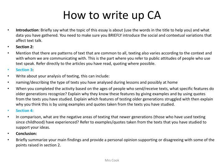 How to write up CA