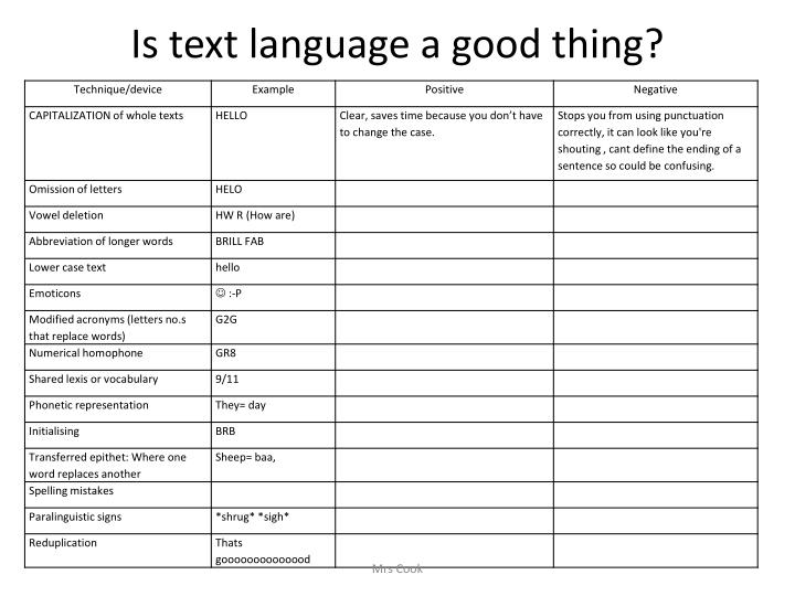 Is text language a good thing?