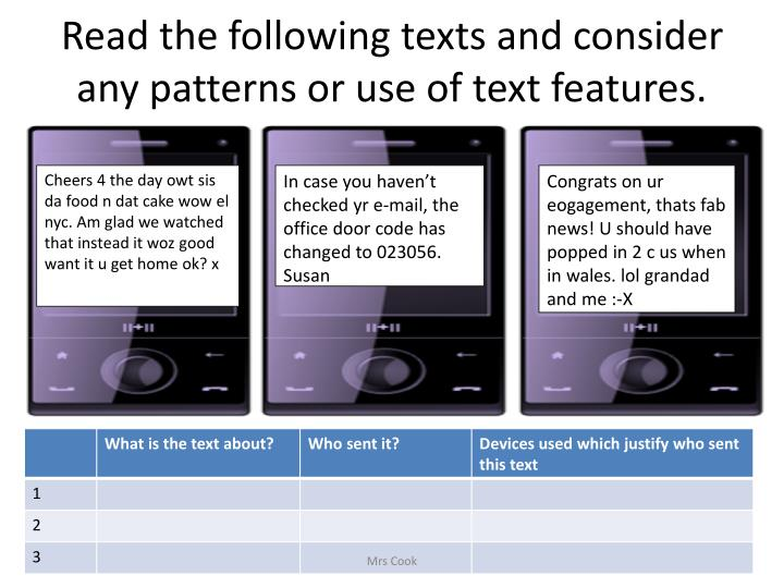 Read the following texts and consider any patterns or use of text features.