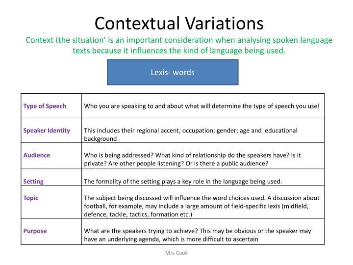 Contextual Variations