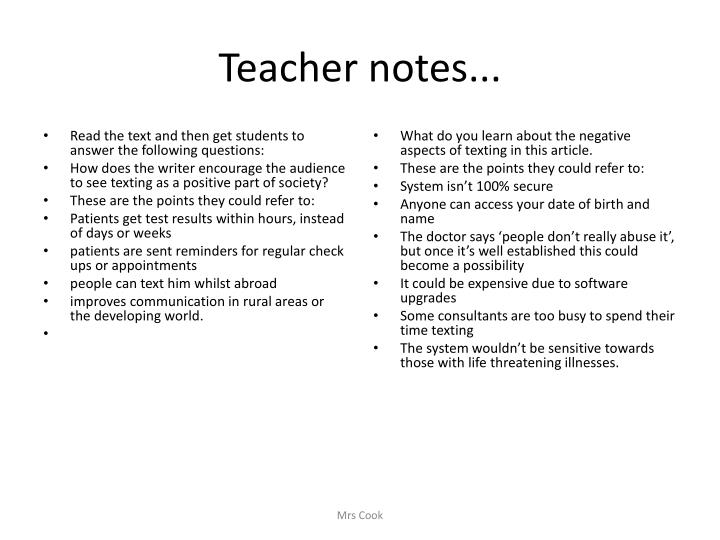 Teacher notes...