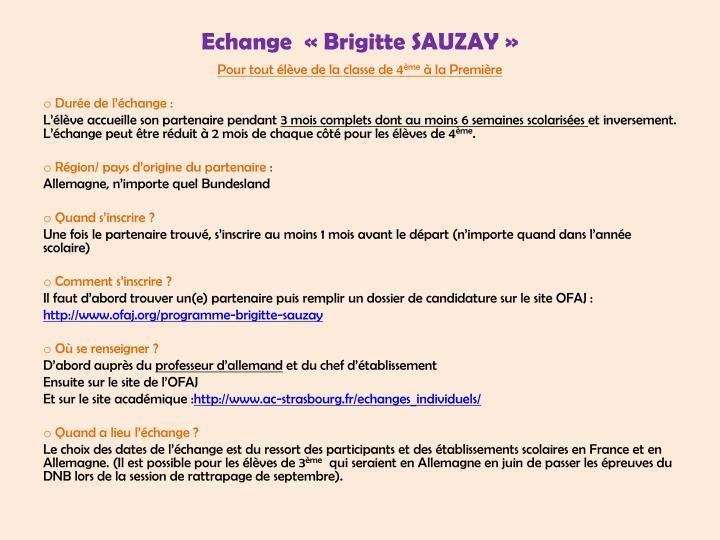 Echange  «Brigitte SAUZAY»