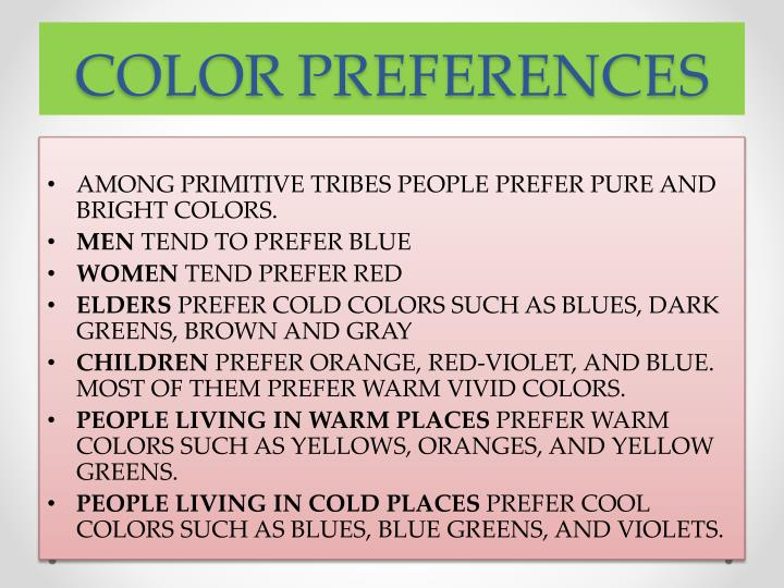 COLOR PREFERENCES