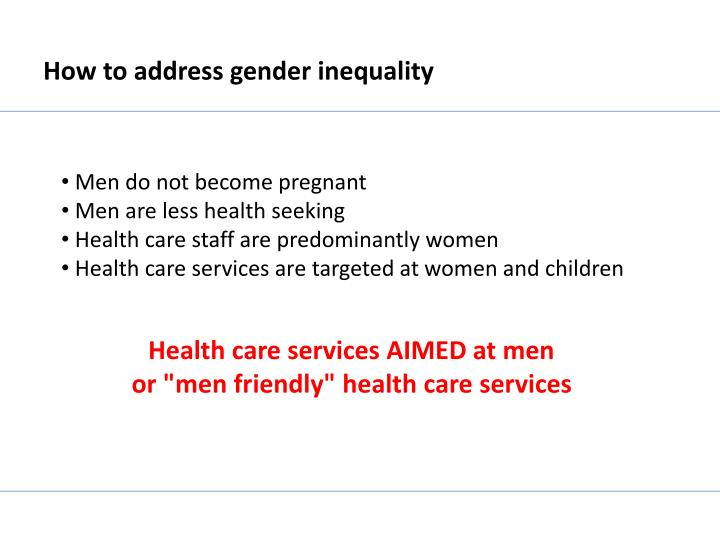 How to address gender inequality