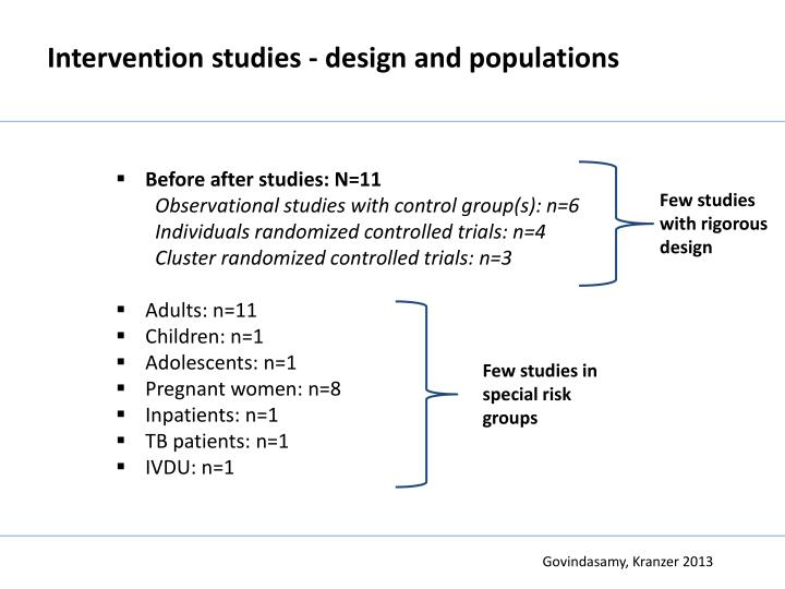 Intervention studies - design and populations