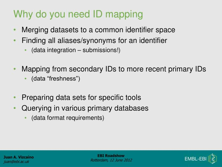 Merging datasets to a common identifier space