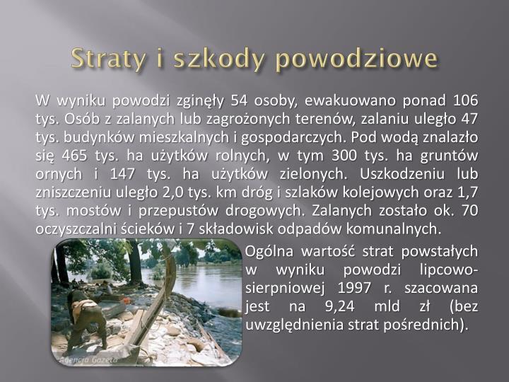 Straty i szkody powodziowe