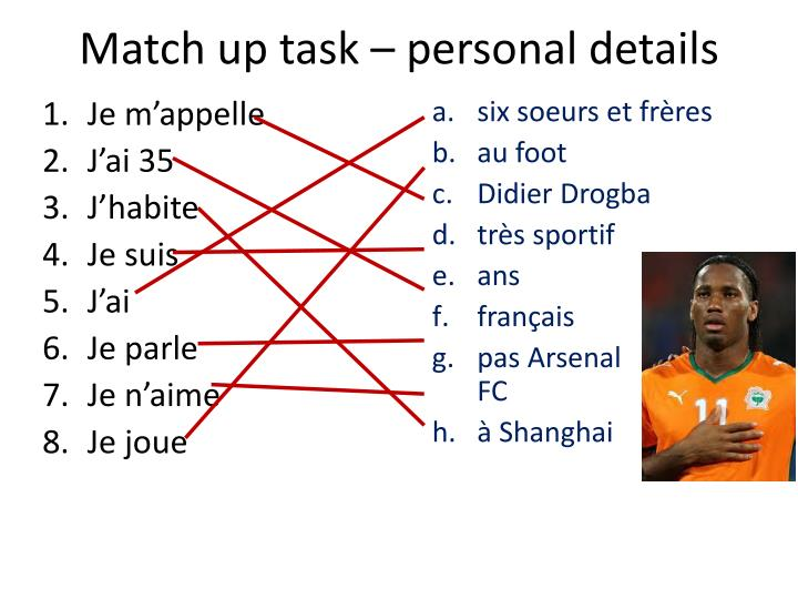 Match up task – personal details