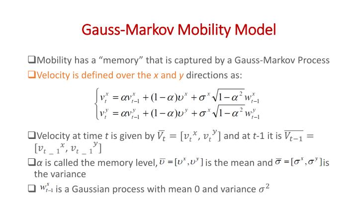 Gauss-Markov Mobility Model