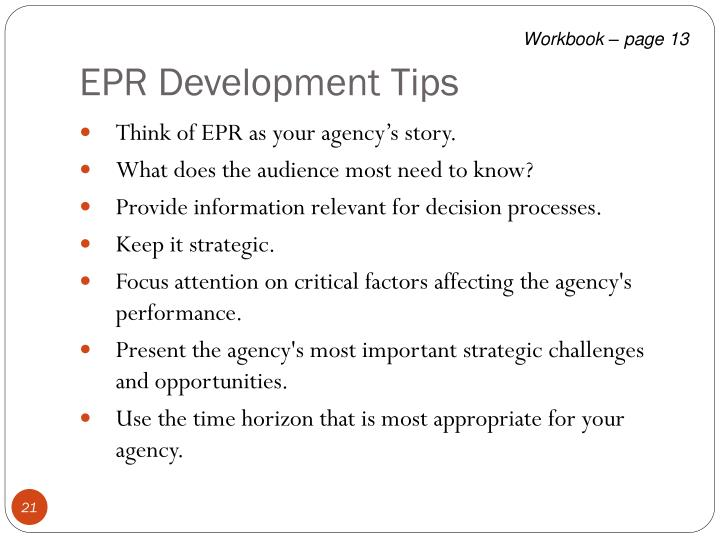 EPR Development Tips