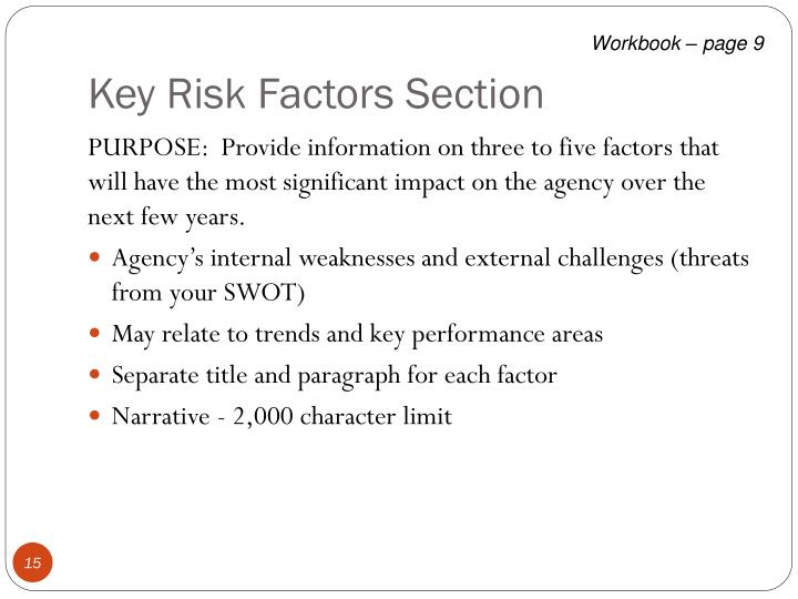 Key Risk Factors Section