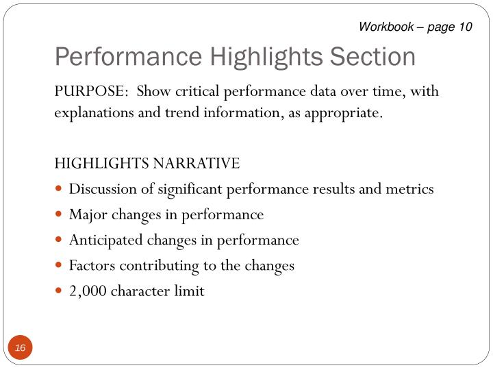 Performance Highlights Section