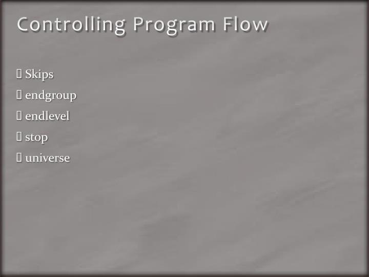 Controlling Program Flow