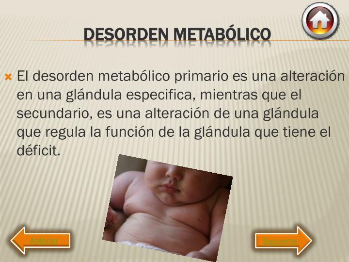 El desorden metabólico primario es una alteración en una glándula especifica, mientras que el secundario, es una alteración de una glándula que regula la función de la glándula que tiene el déficit.
