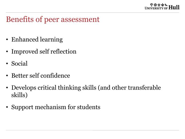 Benefits of peer assessment
