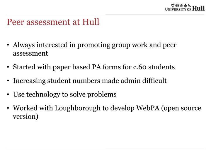 Peer assessment at Hull