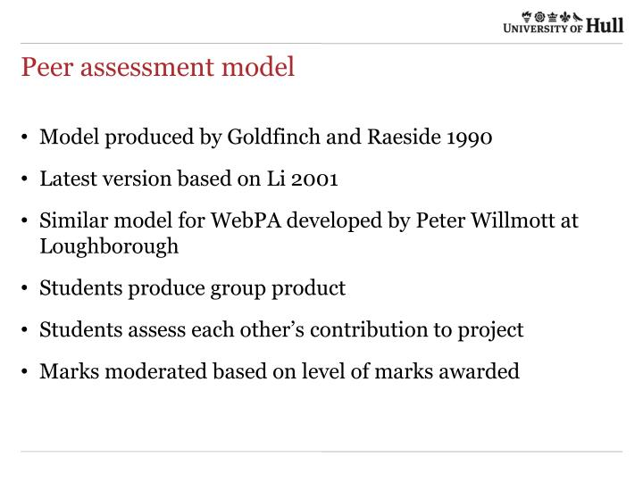 Peer assessment model