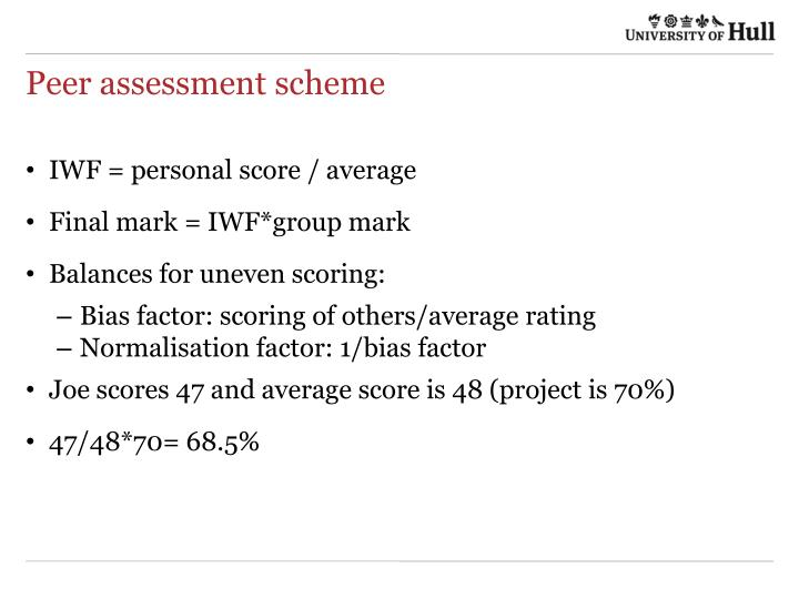 Peer assessment scheme