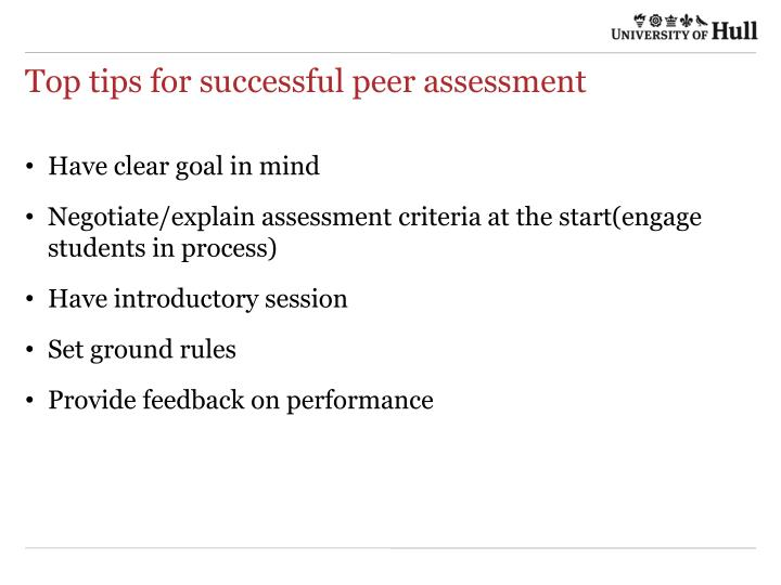 Top tips for successful peer assessment