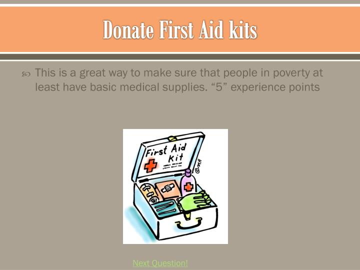 Donate First Aid kits