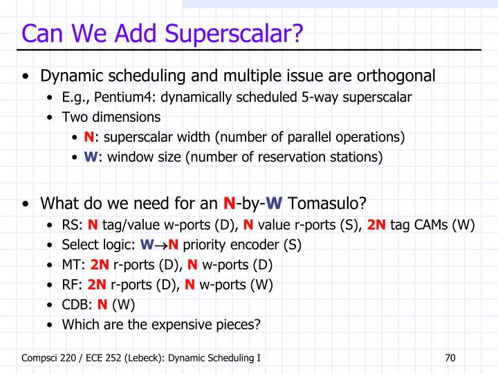 Can We Add Superscalar?