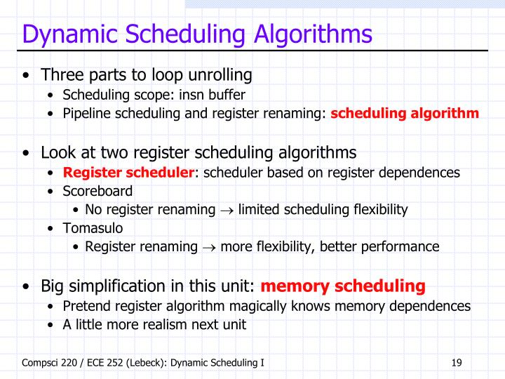 Dynamic Scheduling Algorithms