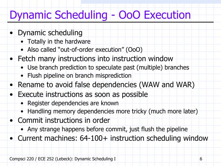 Dynamic Scheduling - OoO Execution