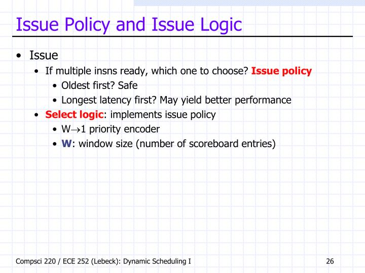 Issue Policy and Issue Logic