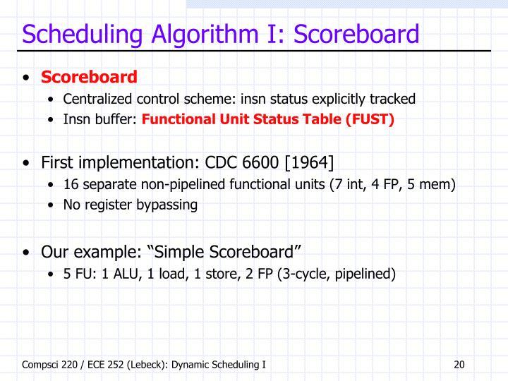 Scheduling Algorithm I: Scoreboard
