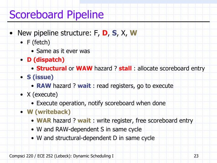 Scoreboard Pipeline