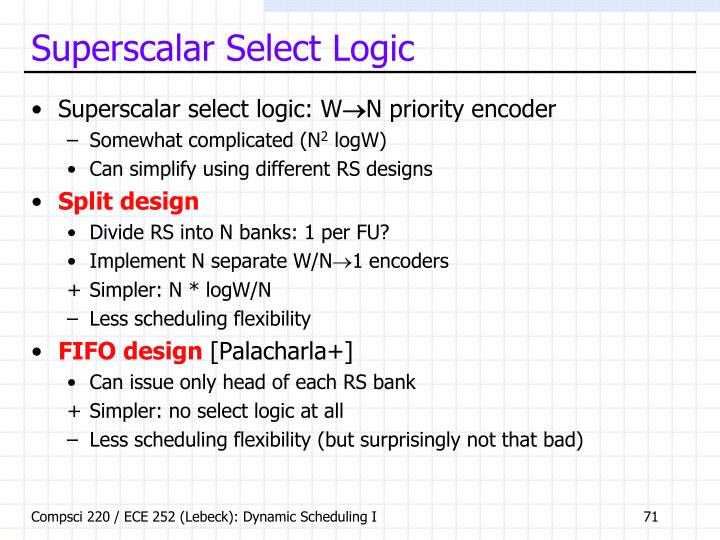 Superscalar Select Logic