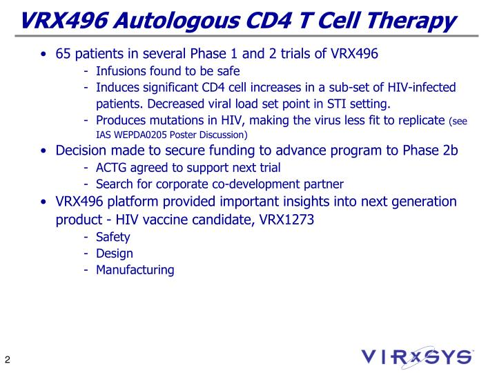 Vrx496 autologous cd4 t cell therapy