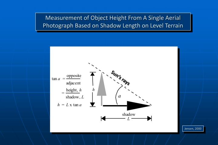 Measurement of Object Height From A Single Aerial Photograph Based on Shadow Length on Level Terrain