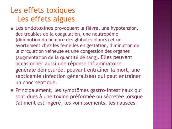 Les effets toxiques