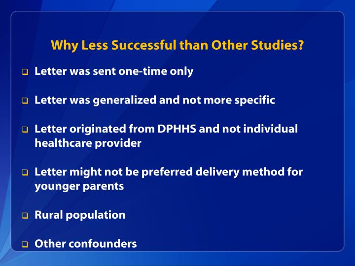 Why Less Successful than Other Studies?