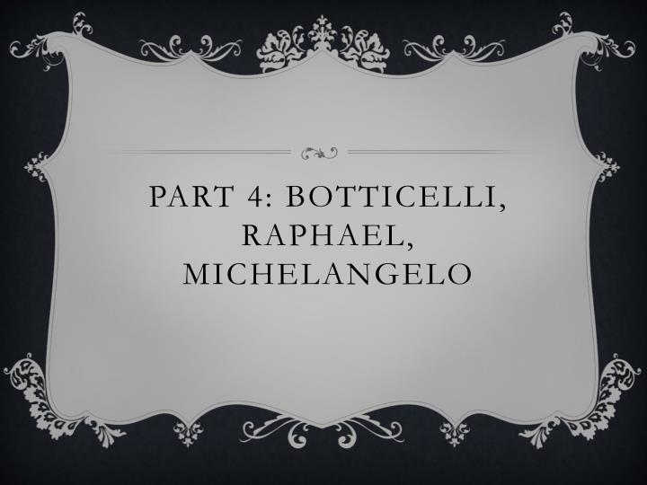 Part 4: Botticelli, Raphael, Michelangelo