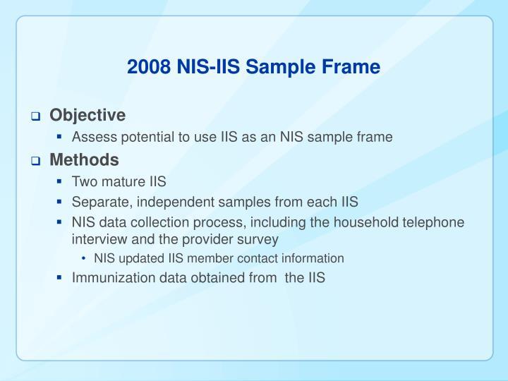 2008 NIS-IIS Sample Frame