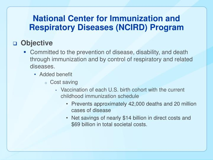 National center for immunization and respiratory diseases ncird program