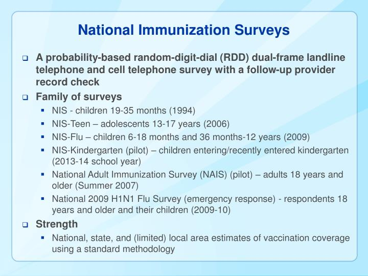National Immunization Surveys