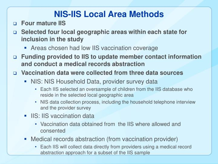 NIS-IIS Local Area Methods