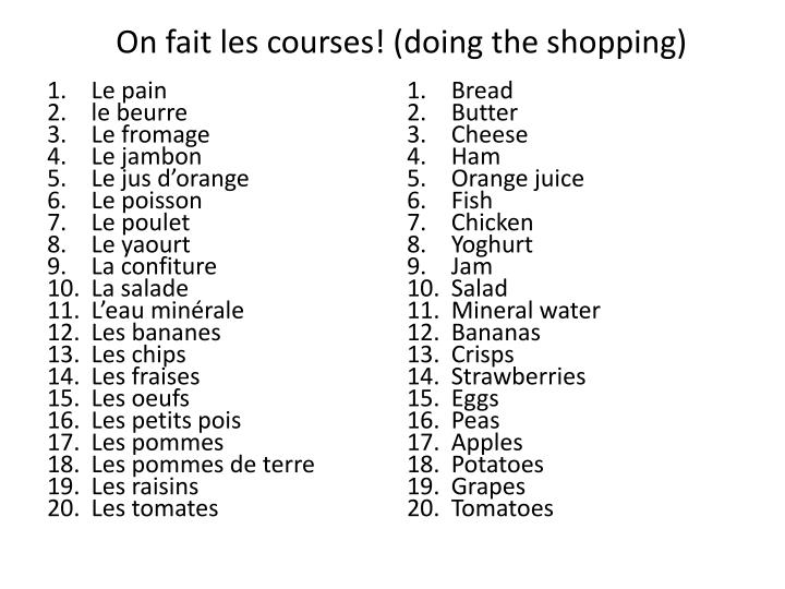 On fait les courses! (doing the shopping)