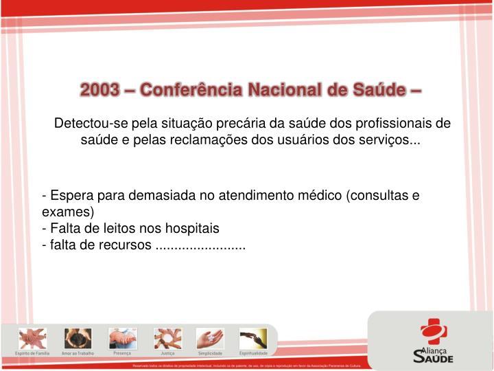 2003 – Conferência Nacional de Saúde –