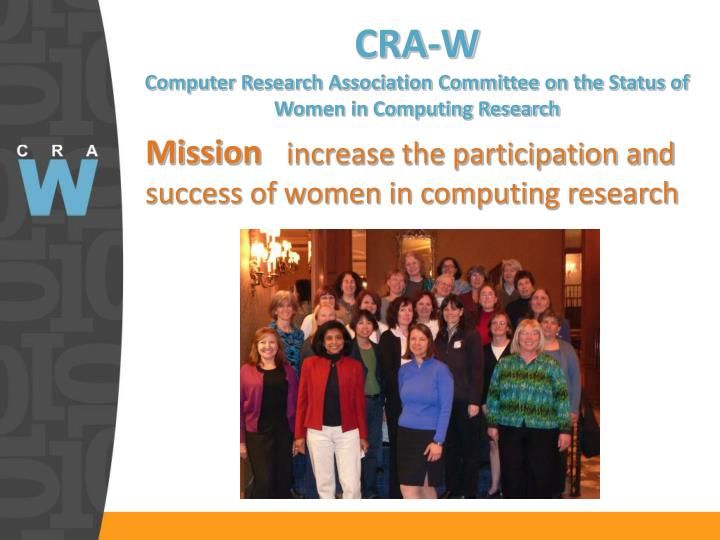 Cra w computer research association committee on the status of women in computing research