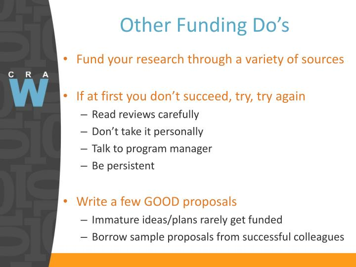Other Funding Do's