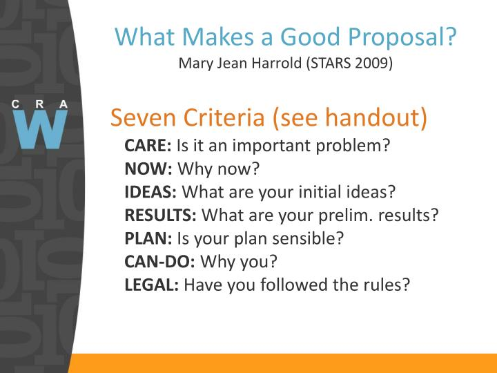 What Makes a Good Proposal?