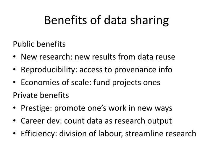 Benefits of data sharing