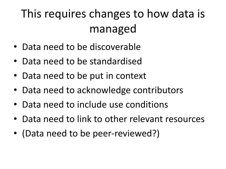 This requires changes to how data is managed