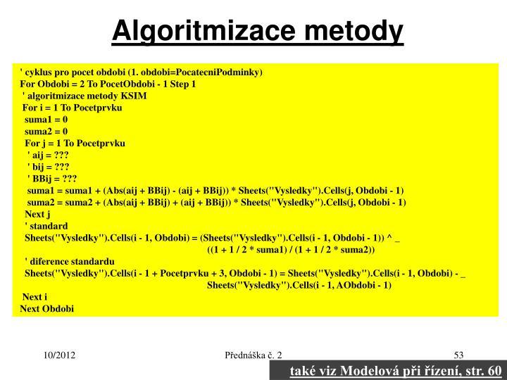 Algoritmizace metody
